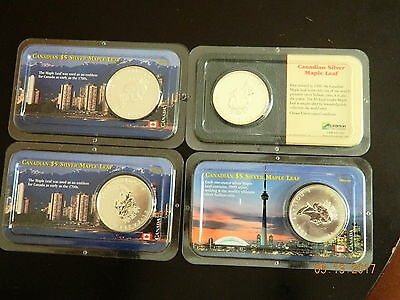 (4) Various Years Canadian Maple Leaf 1 Oz Silver Coin