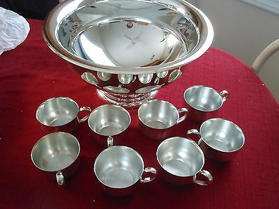 Oneida OL Punch Bowl and 8 Cups + W. A. Italy Silverplated ladle, spoon, fork