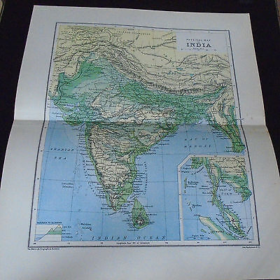 Old Map 1903  Physical Map Of India