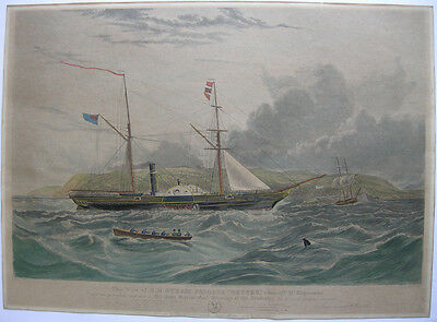 Steam Frigate Geyser Mount Edgecombe South Africa Orig Farblithografie 1856