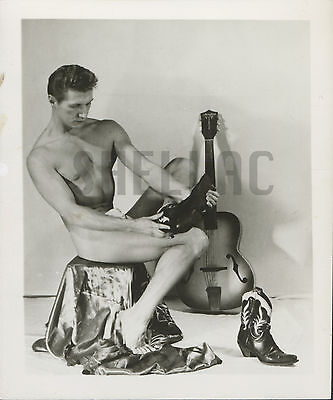 MALE BEEFCAKE PHYSIQUE NUDE ART STUDY PHOTO Vintage 1950s Muscle 4x5 Boot Cowboy