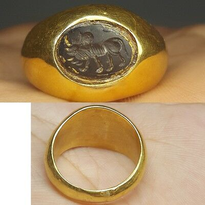 Ancient intaglio Cow intaglio Stone 23k Gold Lovely Ring # v