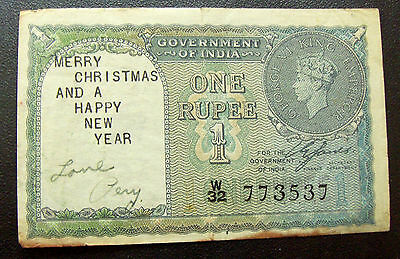 WW2 Christmas Short Snorter on 1940 India 1 Rupee Note - Merry Christmas