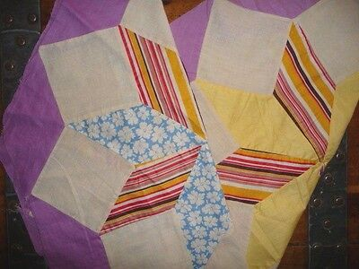 Antique Vintage Lot of 2 EIGHT POINTED STAR Large Quilt Blocks  c.1930's