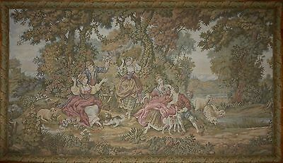 "Large Antique / vintage French Wall Hanging Tapestry 71.5 "" x 41"" Pastoral scene"