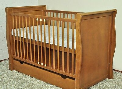 Brown Baby Cot Bed/cot Beds/baby Cot With Drawer/junior Bed + Foam Free  Matress
