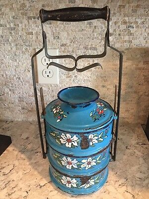 1900s Antique Hand Crafted Enamelware Iron Tiffin Food Box Blue Hand Painted A