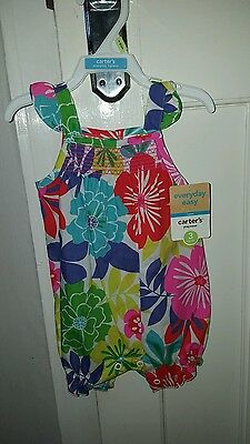 Carters baby girls BNWT bright summer floral playsuit romper 3 months