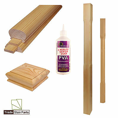 STAIRCASE STAIR KIT - Spindles, Newels & Handrail - Contemporary - SOLID PINE