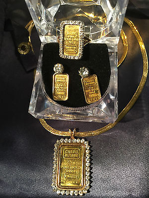 Custom 5 pc. SOLID GOLD Credit suisse SET earrings pendant necklace ring diamond
