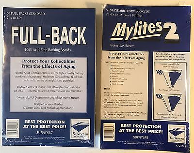50 - GERBER FULL-BACK & MYLITES 2 STANDARD Comic Mylar Bags & Boards 700FB/725M2