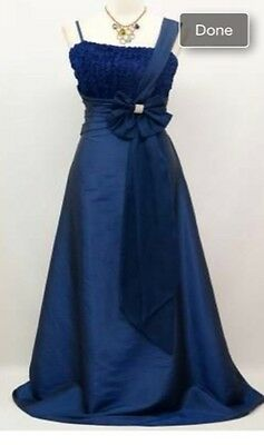 New Evening Gown Formal Party Wedding Blue Dress Sz 14-16 L XL US