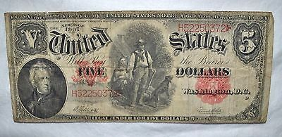 1907 $5.00 Large Size Legal Tender Note - Serial #H52250372