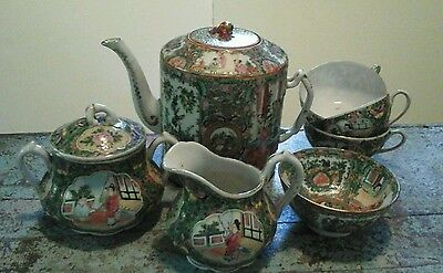 Antique Chinese Canton Rose Medallion Tea Set w/cups