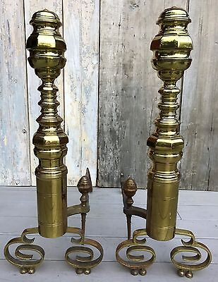 """Antique 19th c. American Chippendale Massive 28.5""""H Brass Beehive Andirons 1840"""