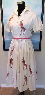 "VTG 1950's Dress ""Democratic Convention Donkey Page Dress"" 1956"