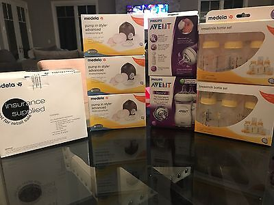 BRAND NEW: Medela Breast Pump In Style Advanced, 4 Pump Kits, 4 Botle Sets