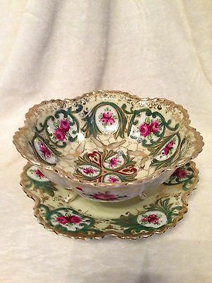 Vintage Antique Hand Painted China Pierced Colander Berry Bowl Underplate NIPPON