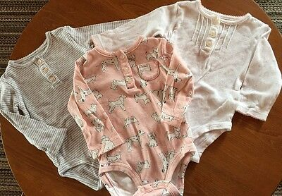 Carters Infant Girls Printed Henley Bodysuits Long Sleeve Dog Print 3 Piece Baby