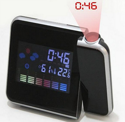 New Weather Snooze Projection Digital Alarm Clock Color Display LED Backlight