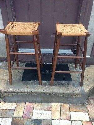 """Pair Vintage Mid Century Wood Woven Seat Counter Bar Stools 29""""1960s REDUCED"""