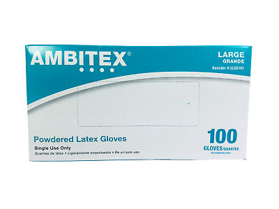 Ambitex LLG5101 Large Disposable Powdered Latex Gloves (100 Glove, Box)