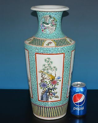 Fine Large Chinese Famille Rose Porcelain Vase Marked Kangxi Rare H9376
