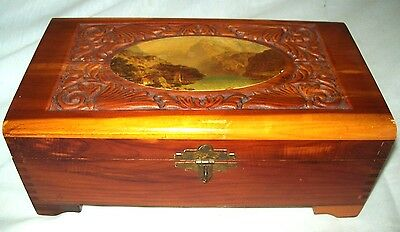 Stunning Antique Hand Carved Tongue & Groove Wood Box Chest With Mirror