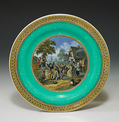 Rare 19Th Century Pratt Polychrome Transfer Printed Green Bordered Cabinet Plate