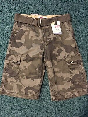 NEW!! Levis Boys Cargo Shorts Size 14/27 Regular Camo Relaxed Fit