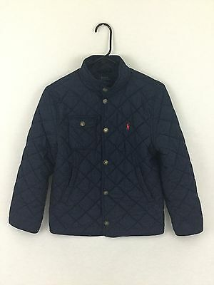 Boy's Navy Blue Polo By Ralph Lauren Jacket Quilted Size Medium 10-12 Boy's