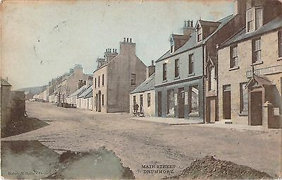 c1905 Tinted Postcard Main Street General Store Drummore Dumfries Scotland