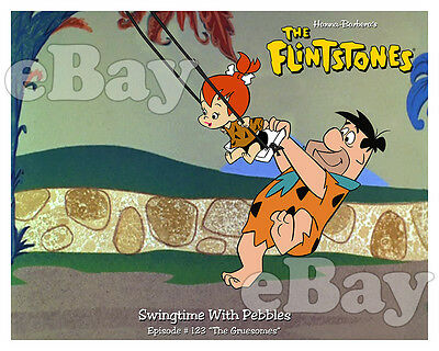 Rare FLINTSTONES Cartoon Color Photo HANNA BARBERA Studios FRED & PEBBLES