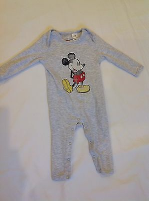 Cotton On Long Sleeve Footless Jumpsuit Vintage Micky Mouse, Size 00, 3-6 Months