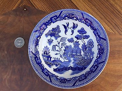 "ANTIQUE BLUE WILLOW 6"" BOWL Marked JAPAN Nice ASIAN Scene White & COBALT"