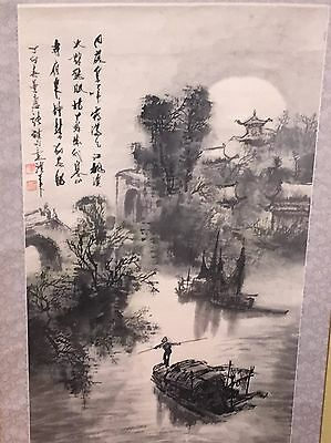 "CHINESE HANGING SCROLL ""Cold Mountain Temple Scenery and Calligraphy"""