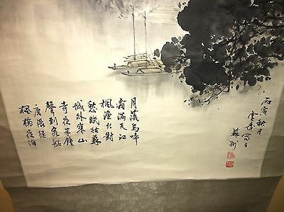 "CHINESE HANGING SCROLL ""Yellow Cold Mountain Temple Scenery and Calligraphy"