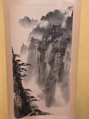 "CHINESE HANGING SCROLL ""Mountain Landscape Scenery and Calligraphy"""