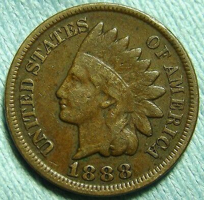1888 Indian Head Cent, Partial LIBERTY, Very Nice Details in Leaves, Penny