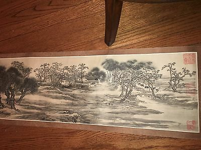 "Massive 20' CHINESE HANGING SCROLL ""city Boats Temple Scenery and Calligraphy"""
