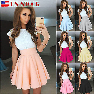 Womens Lace Mini Dress Party Cocktail Summer Short Sleeve Skater Pleated Skirt