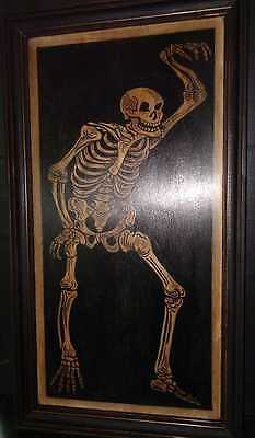 Hand Painted Memento Mori Dance With Death Skeleton Painting On Wood