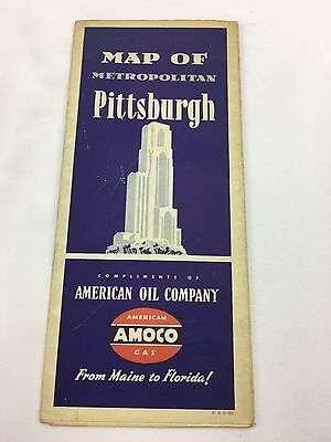 Vintage Amoco American Oil Company Map of Metropolitan Pittsburgh