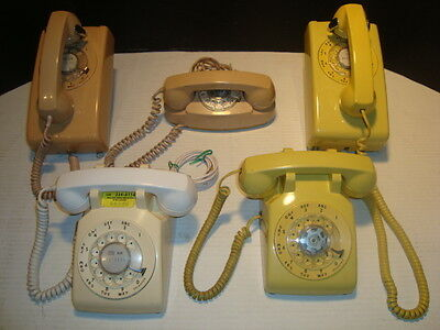 Lot of 5. Vintage Bell System Rotary Dial Telephone Wall Mount Princess Desk Top