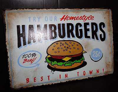 VINTAGE HAND PAINTED HOME STYLE BURGERS 25c WOODEN SIGN