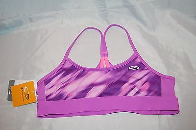 New Girls Purple Pink Champion C9 Duo Dry Athletic Sports Bra Size L 10-12