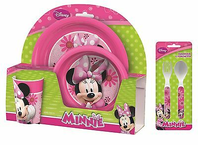 Minnie Mouse Pink Flowers 5pc Tumbler, Bowl, Plate Set & Cutlery Meal Time