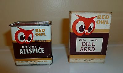 Vintage RED OWL Ground Allspice Spice Tin and RED OWL Dill Seed Cardboard Box