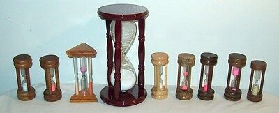 Lot Of 9 Vintage Hourglasses Hourglass Timers Kitchen Timers