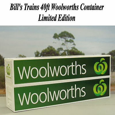Two Woolworths 40ft containers in HO scale - green logo - new